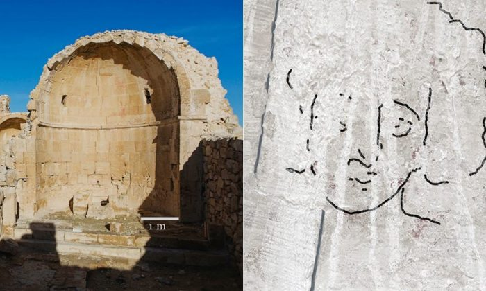 A 1,500-year-old painting of Jesus Christ was uncovered in Israel's Negev after scientists discovered an ancient Byzantine church. (Dror Maayan / Cambridge.org)