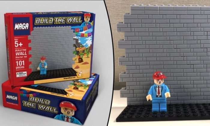 """""""Build the Wall"""" MAGA building block set, offered for sale by Keep and Bear, an online conservative-themed toy and novelty item retailer. (Screengrab via Keep and Grab)"""