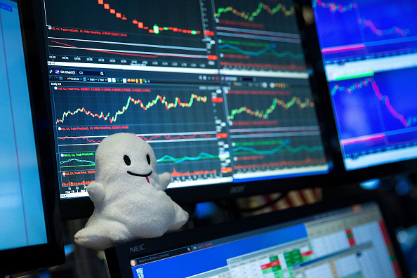 A Snapchat logo stuffed animal sits on the desk of a trader on the floor of the New York Stock Exchange (NYSE), March 2, 2017 in New York City. Snap Inc. shares opened at 24 dollars per share on the NYSE. (Photo by Drew Angerer/Getty Images)
