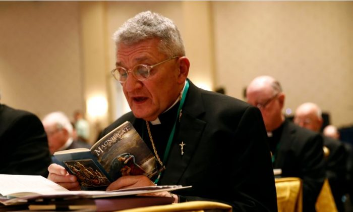 Bishop David Zubik, of Pittsburgh, participates in a morning prayer during the USCCB's annual fall meeting in Baltimore on Nov. 13, 2018,. (AP Photo/Patrick Semansky)