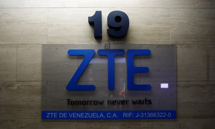 China's ZTE Corp logo is seen at its offices in Caracas, Venezuela on Oct. 4, 2018. (Marco Bello/Reuters)