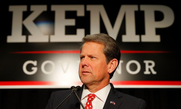 Republican gubernatorial candidate Brian Kemp attends the Election Night event at the Classic Center in Athens
