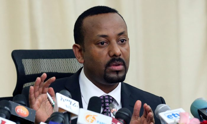 Ethiopia's Prime Minister, Abiy Ahmed addresses a news conference in his office in Addis Ababa, Ethiopia, on Aug. 25, 2018. (Kumera Gemechu/Reuters)
