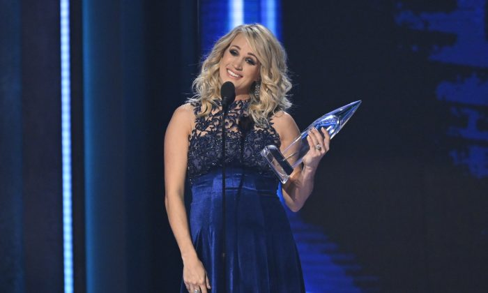 Female Vocalist of The Year winner Carrie Underwood at the 52nd Country Music Association Awards Show in Nashville, Tenn., on Nov. 14, 2018. (Harrison Mcclary/Reuters)