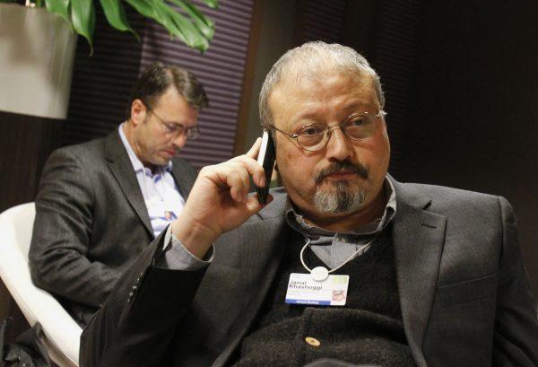 Jamal Khashoggi speaks on cell phone