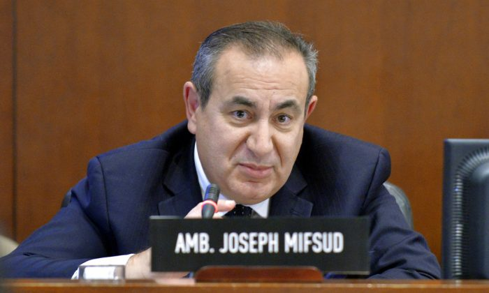 Maltese academic Joseph Mifsud during a meeting in Washington, D.C. on Nov. 12, 2014. (Juan Manuel Herrera/OAS via AP)