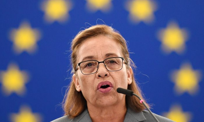 Marshall Islands President Hilda Heine delivers a speech during a debate on President Trump's decision to withdraw the US from the COP 21 Climate agreement, at the European Parliament in Strasbourg, eastern France, on June 14, 2017.  / AFP PHOTO / FREDERICK FLORIN        (Photo credit should read FREDERICK FLORIN/AFP/Getty Images)