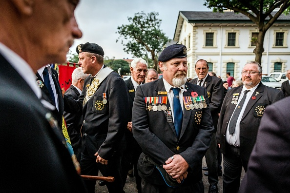 War veterans and members of the Memorable Order Of the Tin Hat (MOTH) gather to take part in a Sunset Parade in Durban, on November 11, 2018.  (Photo by RAJESH JANTILAL / AFP)        (Photo credit should read RAJESH JANTILAL/AFP/Getty Images)