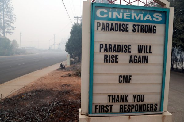 A sign is seen outside of Paradise Cinemas in the aftermath of the Camp Fire in Paradise