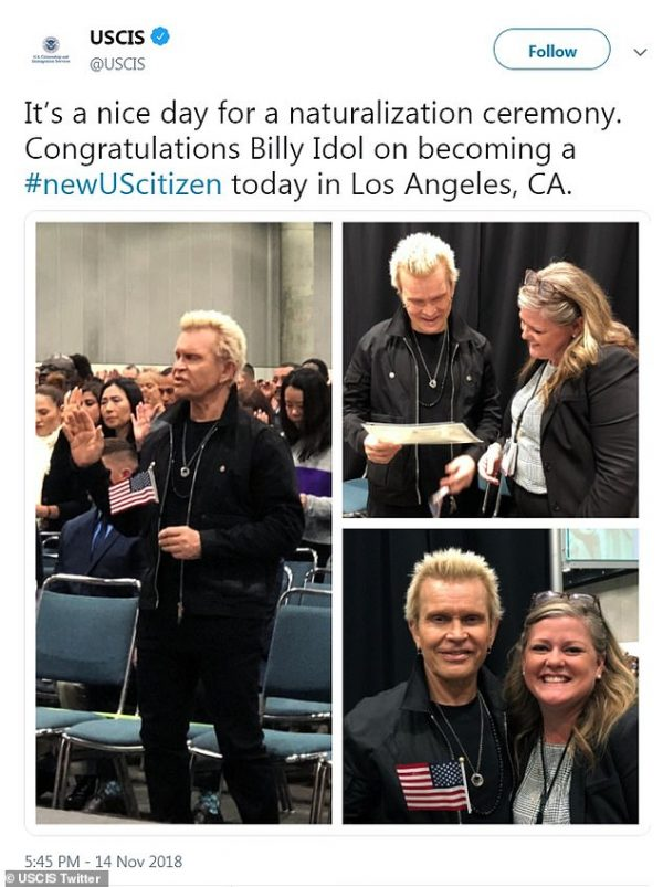 Billy Idol oath ceremony