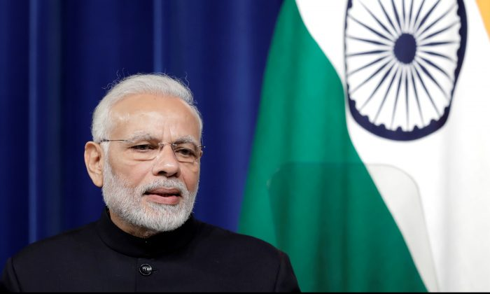 Narendra Modi, India's prime minister, speaks during a joint news conference with Shinzo Abe, Japan's prime minister, not pictured, at Abe's official residence in Tokyo on Oct. 29, 2018. (Kiyoshi Ota/Pool via Reuters)