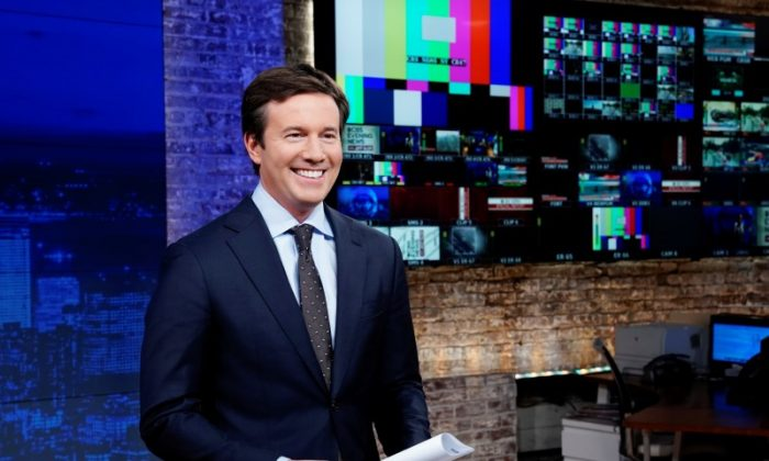 Jeff Glor on the set as he anchors CBS Evening News in New York on Dec. 18, 2017. (Gail Schulman/CBS News/Handout via Reuters)