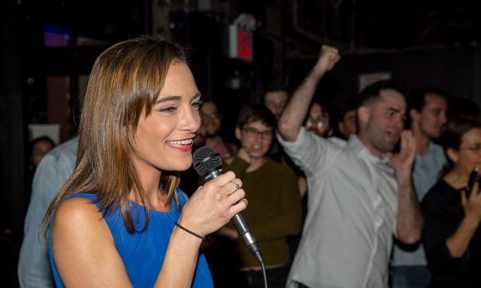 Democratic Socialist candidate Julia Salazar delivers her victory speech after defeating incumbent Democrat State Senator Martin Dilan on Sept. 13, 2018, in New York City. She went on to win the senate seat in the November elections. (Scott Heins/Getty Images)