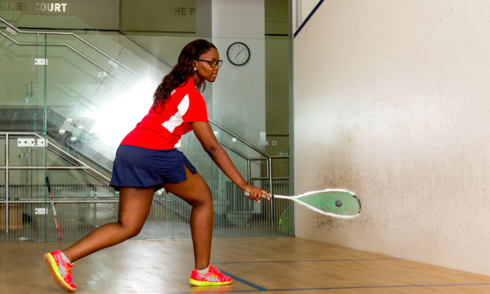 Aye '19 practices at the SL Green StreetSquash Center. (Courtesy of StreetSquash)