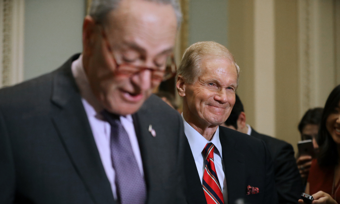 Senate Minority Leader Charles Schumer (D-NY) (L) and Sen. Bill Nelson (D-FL) update reporters about the election recount happening in Florida during a news conference at the U.S. Capitol November 13, 2018 in Washington, DC. (Chip Somodevilla/Getty Images)