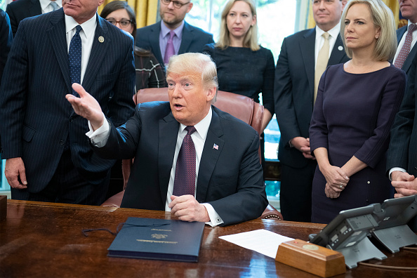 President Donald Trump speaks during a signing of the Cybersecurity and Infrastructure Security Agency Act in the Oval Office of the White House on Nov. 16, 2018. (Ron Sachs - Pool/Getty Images)