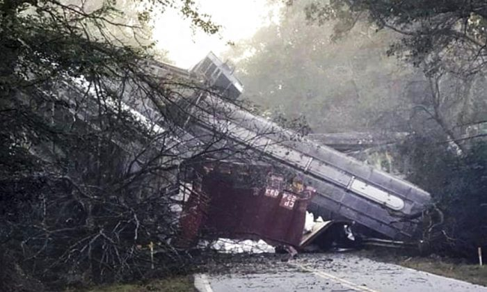 This photo provided by Montezuma police shows a train derailment on Saturday, Nov. 17, 2018 in Byromville, Ga.  CSX Railroad said the cars derailed around 7 a.m. Saturday in Byromville, roughly 55 miles south of Macon.