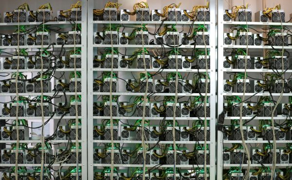 Cryptocurrency miners on racks
