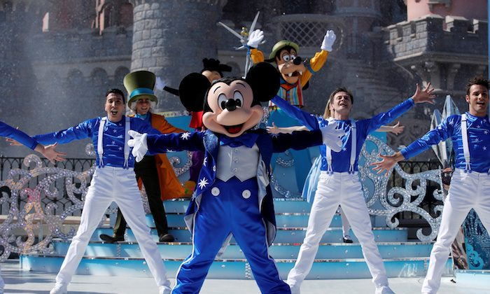 Disney character Mickey Mouse attends the 25th anniversary of Disneyland Paris at the park, in Marne-la-Vallee, near Paris, France, March 25, 2017. (Benoit Tessier/Reuters)