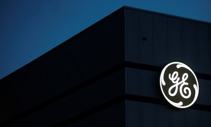 The General Electric logo is pictured on the General Electric offshore wind turbine plant in Montoir-de-Bretagne, near Saint-Nazaire, western France, on Nov. 21, 2016. (Stephane Mahe/Reuters)