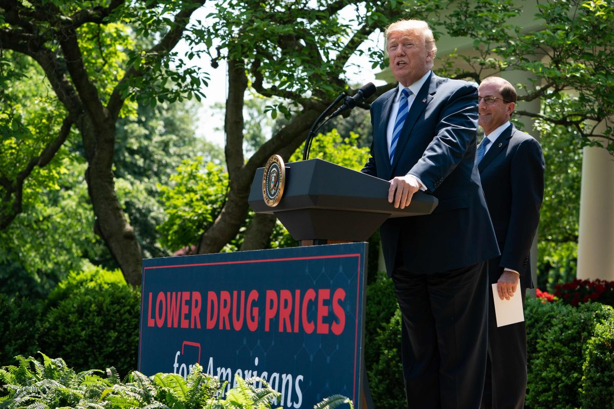 President Trump delivers remarks with Health and Human Services Secretary Alex Azar