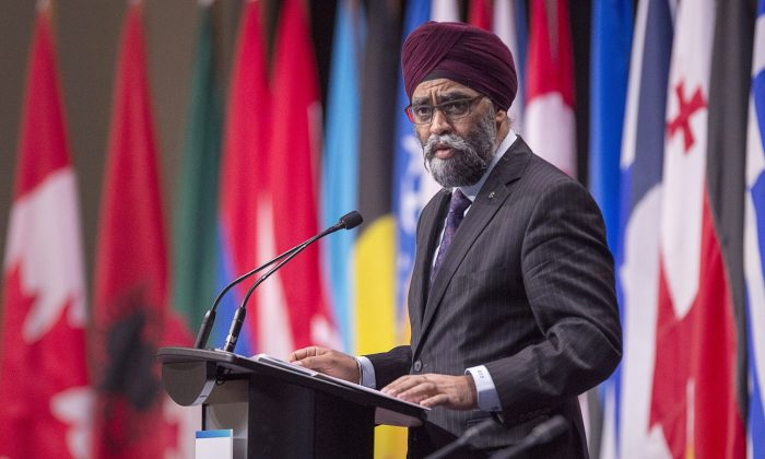 Canadian Defence Minister Harjit Sajjan addresses a plenary session of NATO's Parliamentary Assembly, in Halifax on Nov. 19, 2018. (The Canadian Press/Andrew Vaughan)