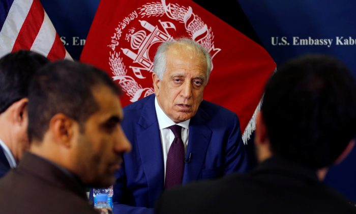 U.S. special envoy for peace in Afghanistan, Zalmay Khalilzad, talks with local reporters at the U.S. embassy in Kabul, Afghanistan on Nov. 18, 2018. (US Embassy/Handout via Reuters)