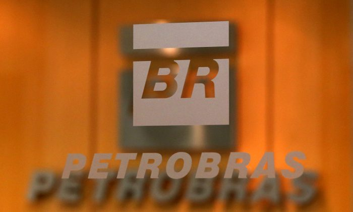 The logo of Brazil's state-run oil company Petrobras is pictured in the company headquarters in Sao Paulo, Brazil on Feb. 20, 2018. (Paulo Whitaker/File photo/Reuters)