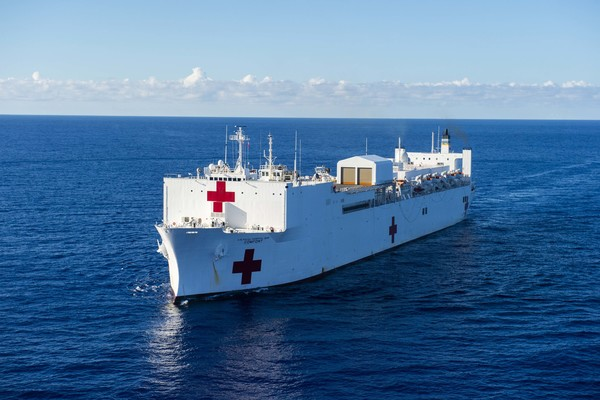 The hospital ship USNS Comfort transits south on an 11-week medical support mission to Central and South America on Oct. 13, 2018 in the Atlantic Ocean. (U.S. Navy/Mass Communication Specialist 1st Class Scott Bigley/Released)