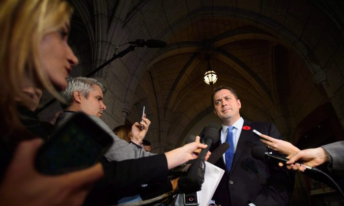 Conservative Leader Andrew Scheer speaks to media on Parliament Hill, in Ottawa on Nov. 7, 2018. (The Canadian Press/Sean Kilpatrick)