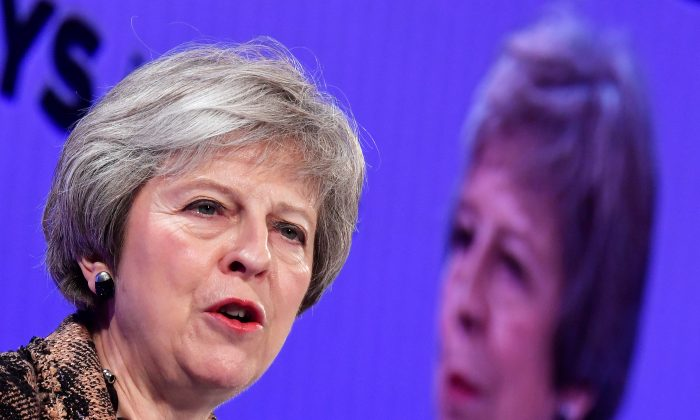 Britain's Prime Minister Theresa May at the Confederation of British Industry's annual conference in London on Nov. 19, 2018. (Reuters/Toby Melville)