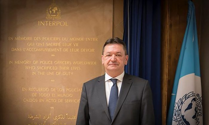 Alexander Prokopchuk, Russian candidate to head international police organization Interpol, during a ceremony to open a monument to police in Bangkok, Thailand in Dec. 2015. (Russian Interior Ministry/Handout via Reuters)