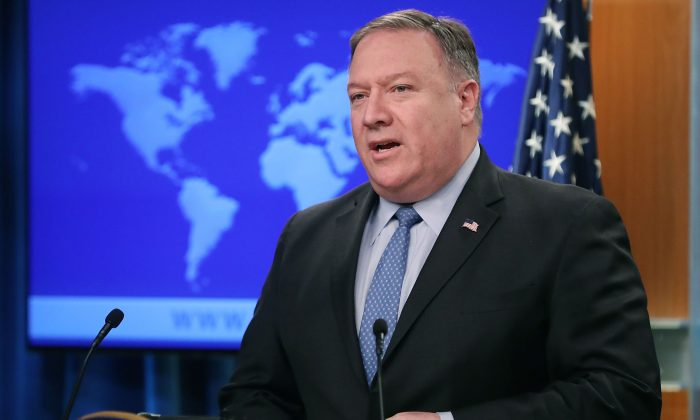 Secretary of State Mike Pompeo in the briefing room at the Department of State in Washington on Nov. 20, 2018. Pompeo met with Turkish Foreign Minister Meylut Cavusglu after President Trump released a statement signaling that the United States will stand by Saudi Arabia after the killing of Washington Post journalist Jamal Khashoggi at the Saudi consulate in Istanbul. (Mark Wilson/Getty Images)