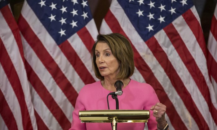 Nancy Pelosi (D-Calif.) as House Minority Leader at the Capitol Building in Washington D.C. on Nov. 7, 2018. Pelosi has recently made a deal with the Congressional Progressive Caucus to give members more positions of power in return for support in her race to become the next Speaker of the House. (Zach Gibson/Getty Images)