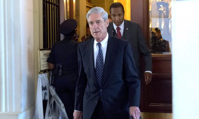 Special Counsel Robert Mueller leaves after a meeting with the US Senate Judiciary Committee at the US Capitol in Washington, on June 21, 2017. (SAUL LOEB/AFP/Getty Images)