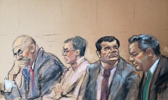 "The accused Mexican drug lord Joaquin ""El Chapo"" Guzman (2nd R), appears with defense attorneys A. Eduardo Balarezo (L) and Jeffrey Lichtman (R), in this courtroom sketch in Brooklyn federal court in New York, on Nov. 19, 2018.   (Jane Rosenberg/Reuters)"