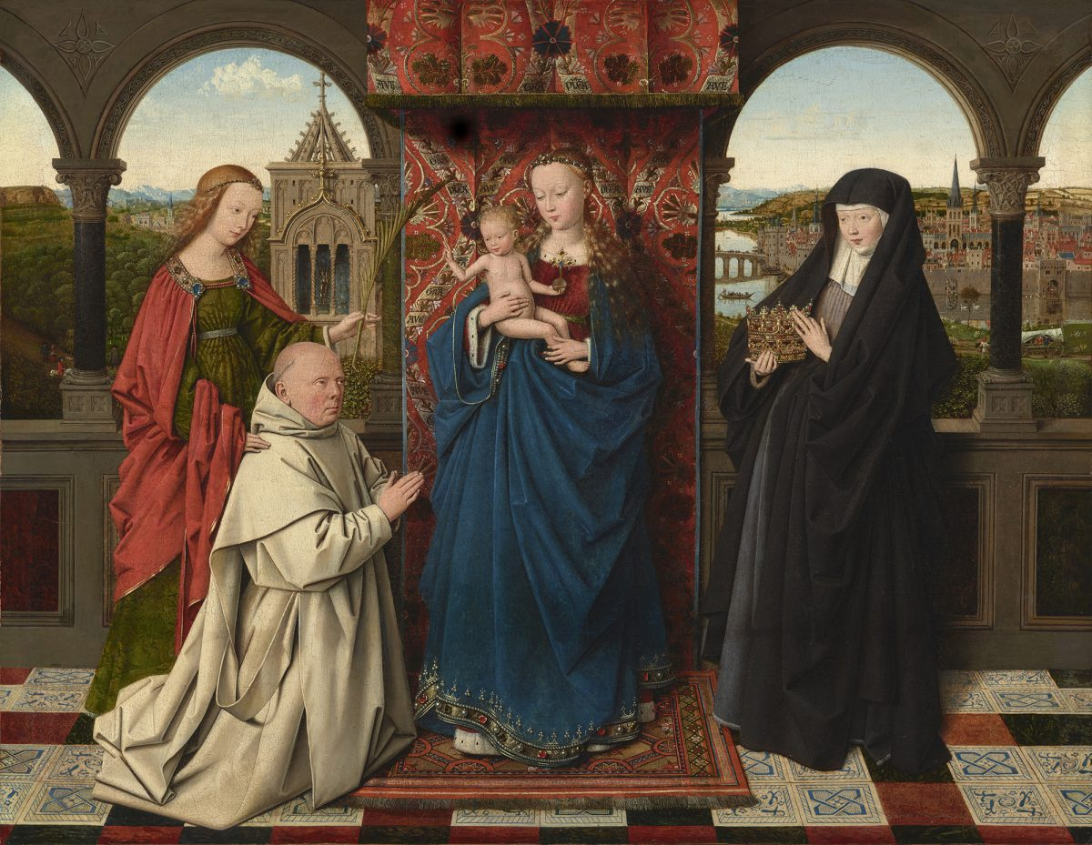 """The Virgin and Child with St. Barbara, St. Elizabeth, and Jan Vos,"" circa 1441–43, by Jan van Eyck and Workshop. Oil on panel, 18 5/8 inches by 24 1/8 inches, The Frick Collection (Michael Bodycomb)"