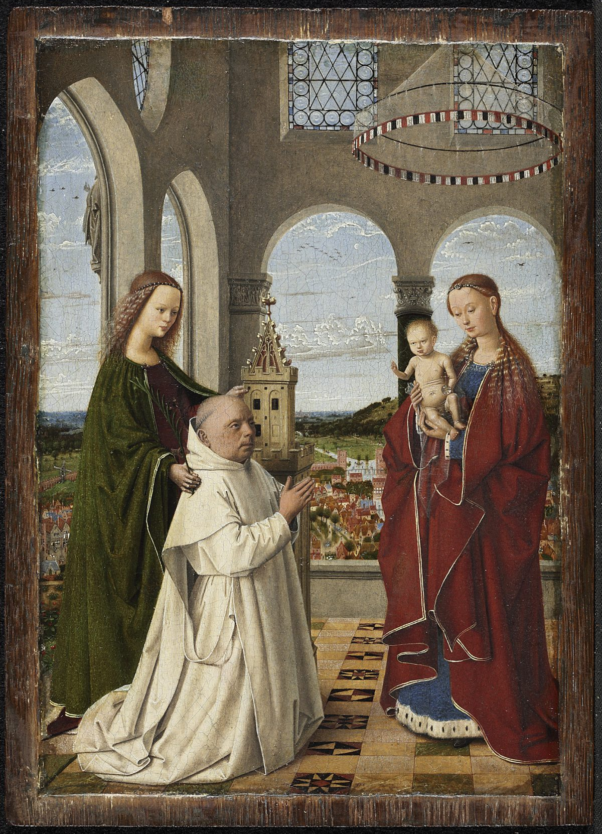 """The Virgin and Child with St. Barbara and Jan Vos (known as the Exeter Virgin),"" circa 1450, by Petrus Christus. Oil on panel, 7 5/8 inches by 5 ½ inches, Staatliche Museen zu Berlin, Gemäldegalerie. (Courtesy of The Frick Collection)"