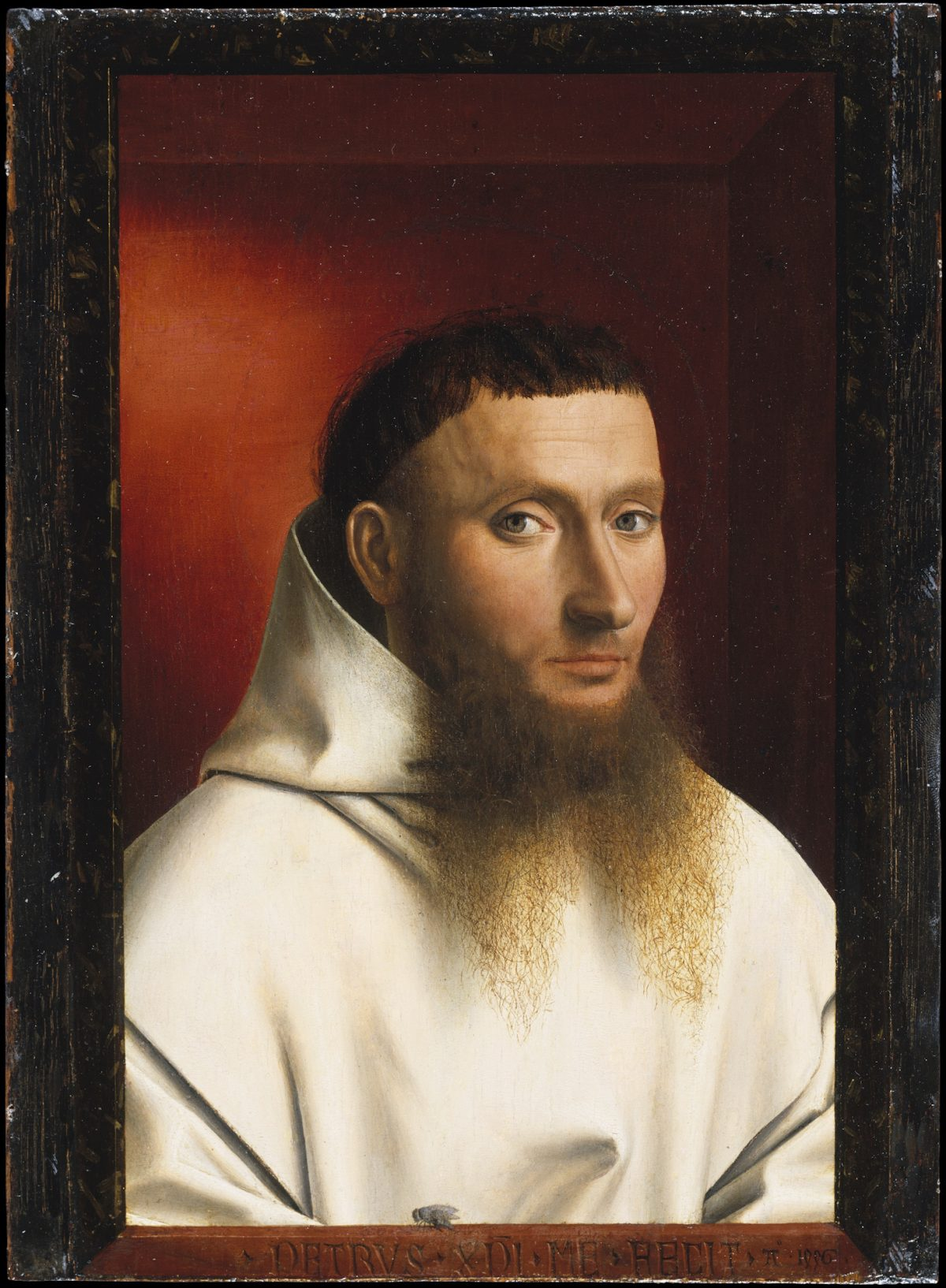 """Portrait of a Carthusian Lay Brother,"" 1446, by Petrus Christus. Oil on wood, 11 1/2 inches by 8 1/2 inches, The Jules Bache Collection, The Metropolitan Museum of Art. (Courtesy of The Frick Collection)"