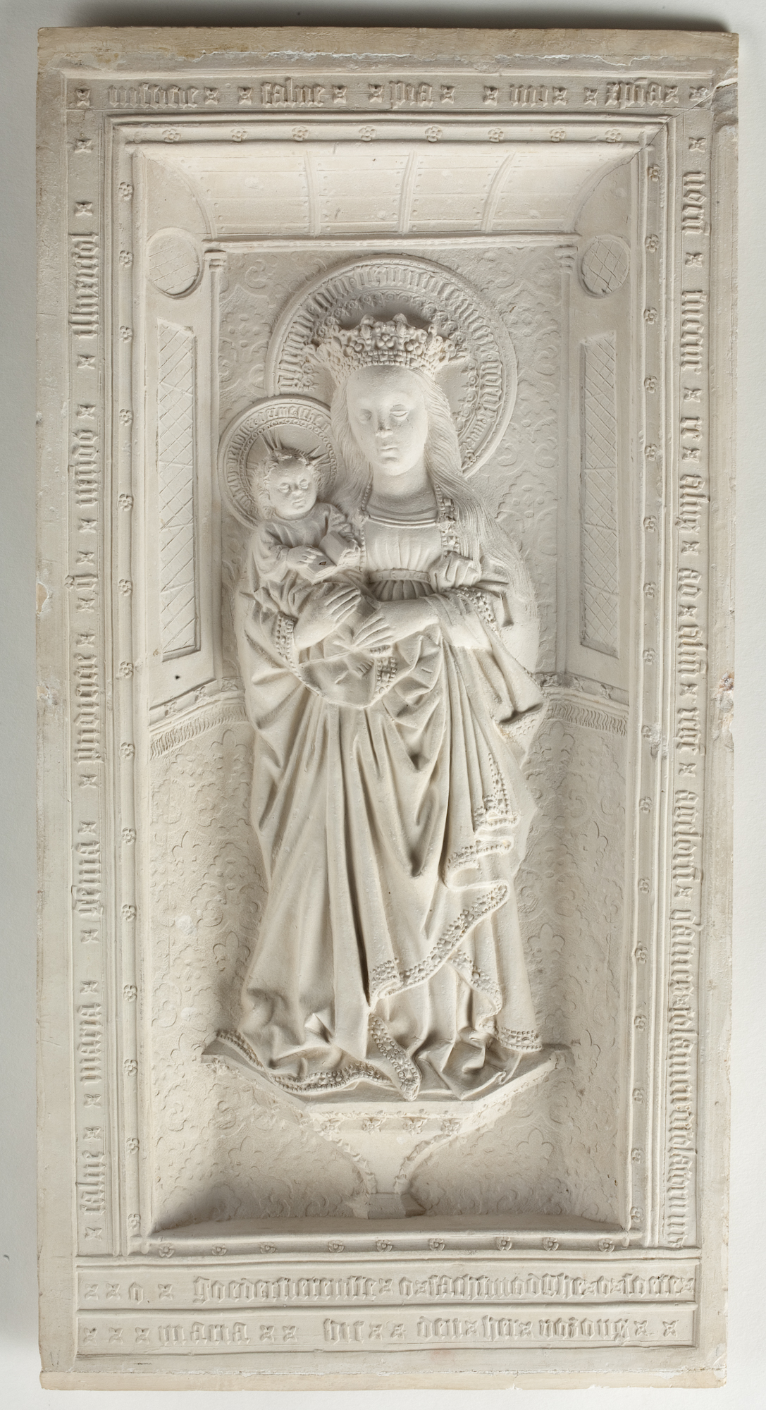 """Relief with the Virgin and Child (The Virgin of Zoeterwoude),"" 2nd half of 15th century, by Unknown artist from Utrecht. Pipe clay, 16 13/16 inches by 8 11/16 inches by 1 inch, Museum Catharijneconvent. (Courtesy of The Frick Collection)"