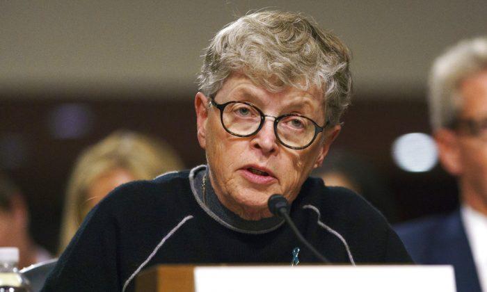 Former Michigan State President Lou Anna Simon testifies before a Senate subcommittee in Washington on June 5, 2018.  (AP Photo/Carolyn Kaster, File)