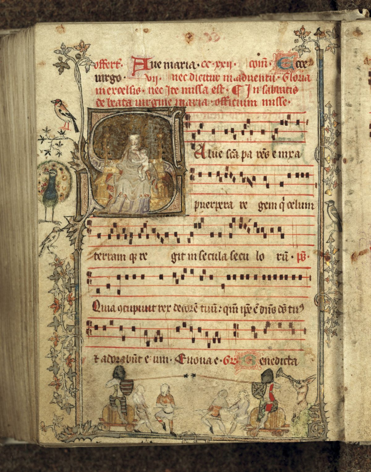 """Gradual (song book formerly at Genadedal),"" 14th century, by Unknown artist from Low Countries. Manuscript, 6 5/16 inches by 4 3/4 inches, Bibliothèque municipale, Douai. (Courtesy of The Frick Collection)"