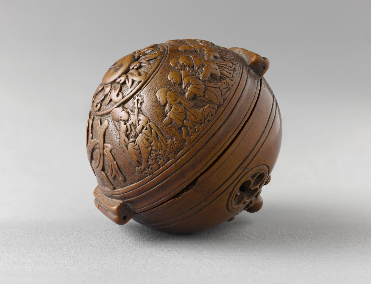 """Prayer-nut for the Carthusian François du Puy,"" circa 1517-21, by Adam Dircksz and Workshop. Boxwood, 1 7/8 inches in diameter, Private Collection. (Courtesy of The Frick Collection)"
