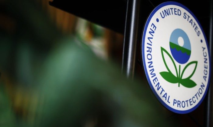 The U.S. Environmental Protection Agency (EPA) sign is seen on the podium at EPA headquarters in Washington, on July 11, 2018. (Reuters/Ting Shen)