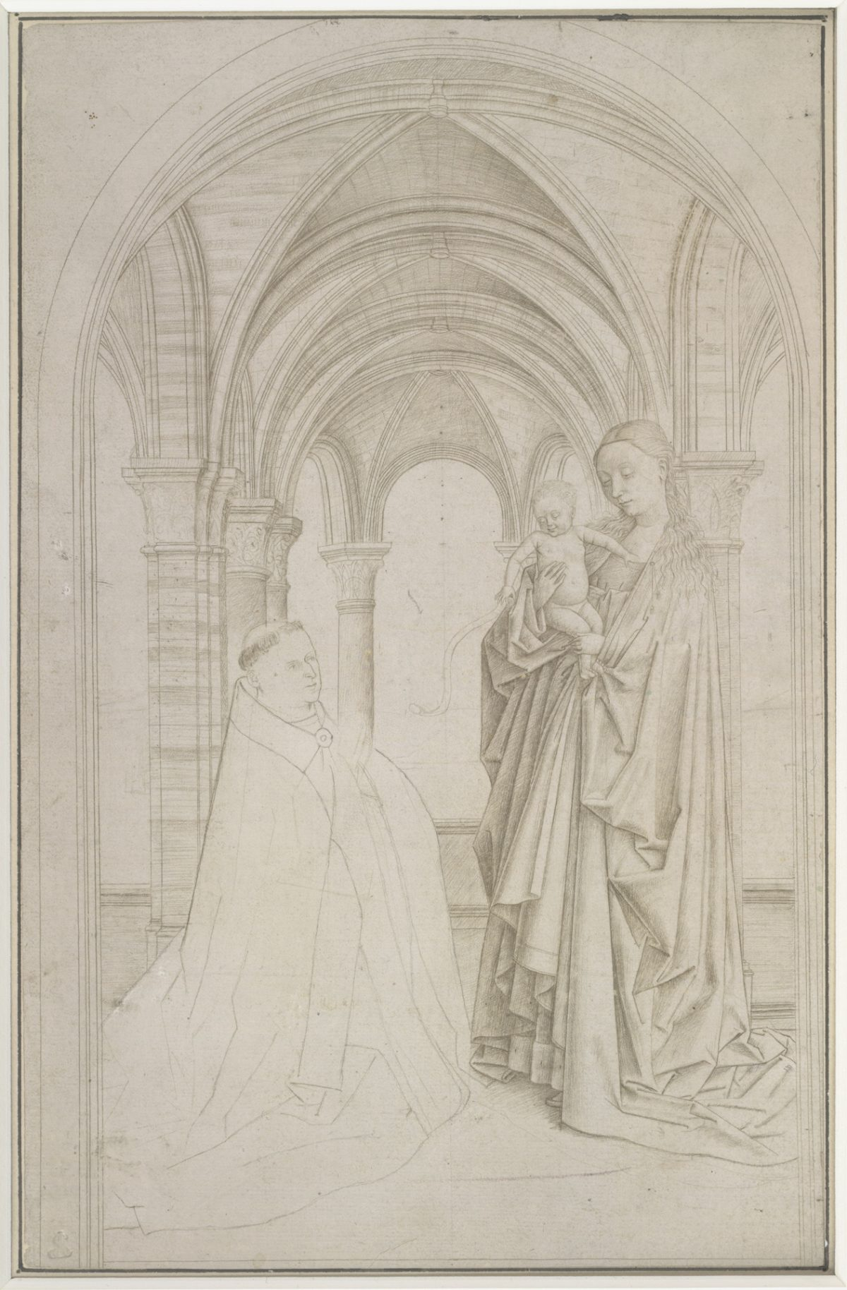 """The Virgin and Child with a Donor (copy after Jan van Eyck's Maelbeke Virgin),"" Attributed to Petrus Christus. Silverpoint on prepared paper, 10 15/16 inches by 7 1/16 inches, The Albertina Museum, Vienna. (Courtesy of The Frick Collection)"