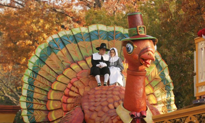 The Thanksgiving Turkey makes its way during the annual Macy's Thanksgiving Day Parade in New York City in this file photo. Thanksgiving is a great American tradition; don't let naysayers ruin it. (Photo by Hiroko Masuike/Getty Images)