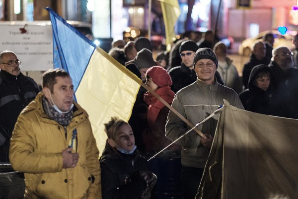 People gather in Ukraine's eastern city of Kharkiv.