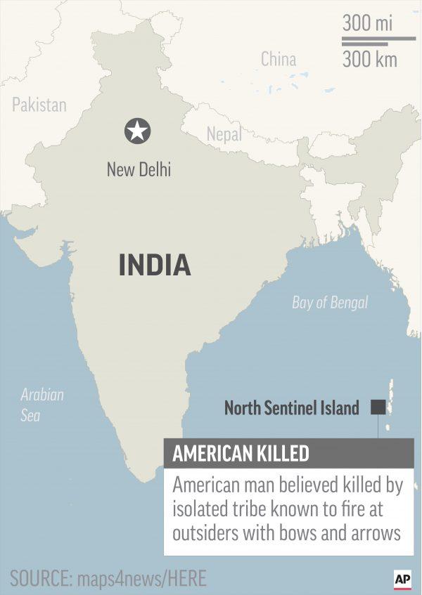 Map locates North Sentinel Island