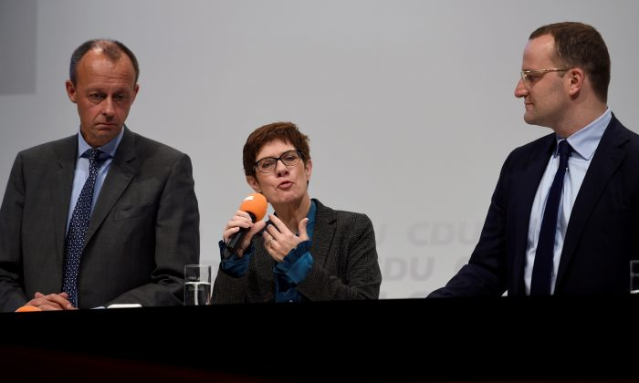 Christian Democratic Union candidates (L-R) Friedrich Merz, Annegret Kramp-Karrenbauer, and Jens Spahn attending a regional conference in Luebeck, Germany, on Nov. 15, 2018. (Fabian Bimmer/Reuters)