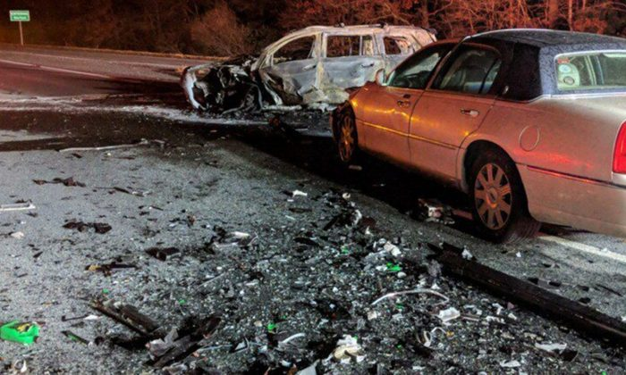 Massachusetts State Police spokesman Dave Procopio said the crash happened around 11:30 p.m., on Nov. 21, 2018,  on Interstate 495 in Taunton. (Taunton Fire Department)